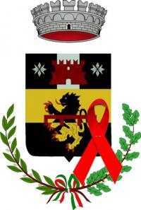 Stemma Comune di Pelago con fiocco rosso contro la violenza sulle donne