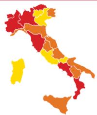 Italia con Toscana in zona ROSSA