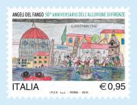 francobollo 50 anni alluvione Firenze
